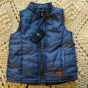 7 for All Mankind Vest Blue 3T kids new NWT zipper